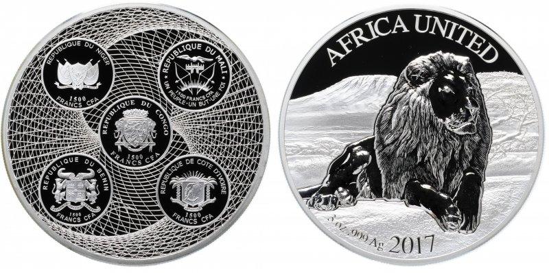 Соединенная Африка, 1500 франков 2017 года «Лев»