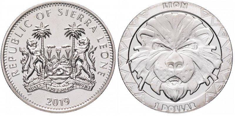 Сьерра-Леоне, 1 доллар 2019 года «Лев»