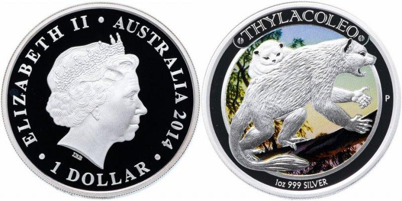 Австралия, 1 доллар 2014 года «Мегафауна - Сумчатый лев»