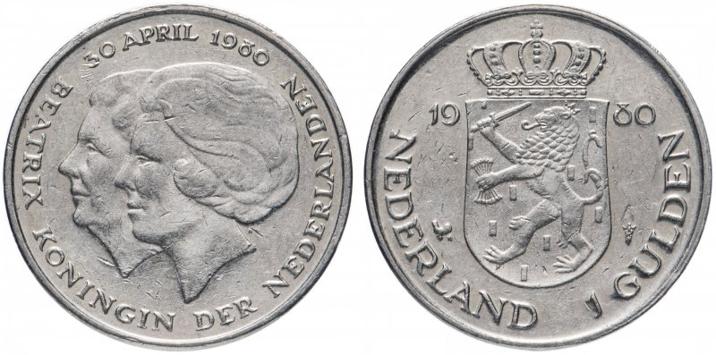Нидерланды, 1 гульден (gulden) 1980 года «Коронация королевы Беатрикс»
