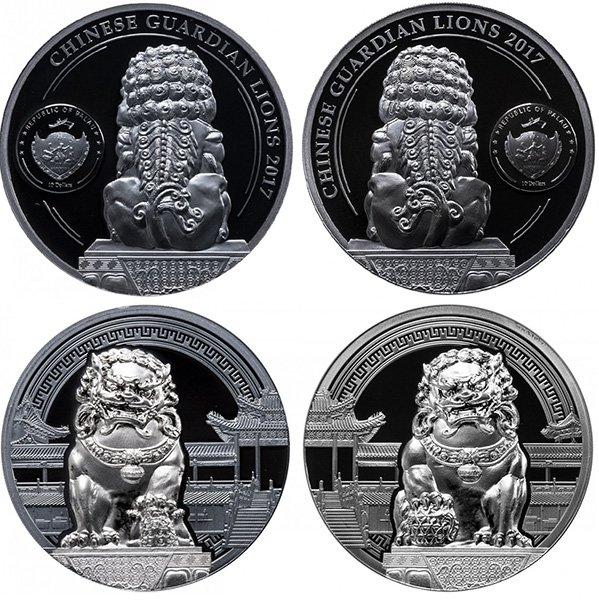 Палау, набор из 2-х монет 10 долларов 2017 года «Китайские львы-хранители»