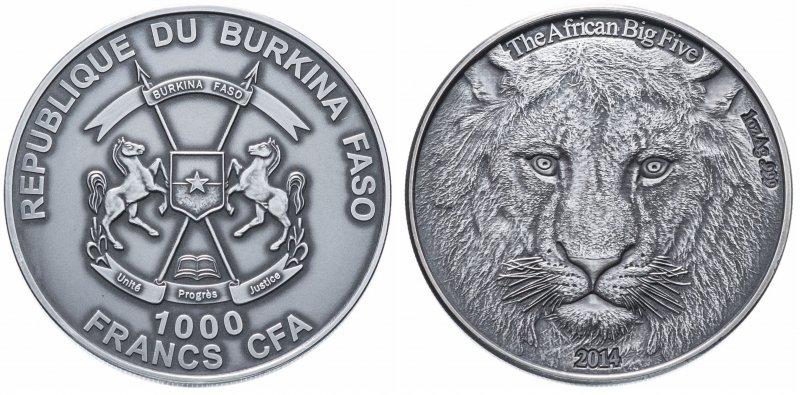 Буркина-Фасо, 1000 франков 2014 года «Лев»