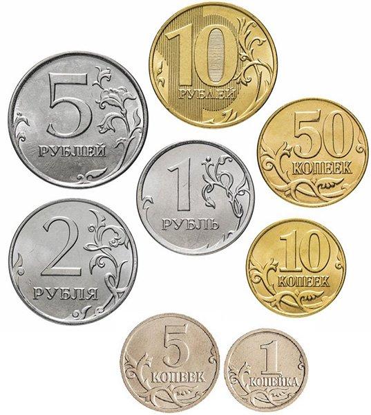 Действующие монеты России