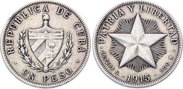 1 песо 1915 год. Республика Куба. Серебро, 26,7 г