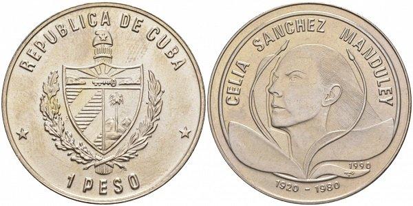 1 песо. 70-летие Селии Санчес. Куба. 1990 год. Мельхиор