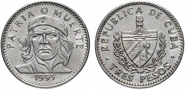 3 песо. Команданте Че Гевара. 1995 год. Мельхиор