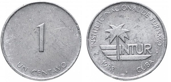 1 сентаво. 1988 год. Куба. INTUR. Алюминий