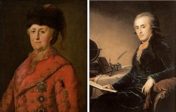 Екатерина II (портрет работы М. Шибанова, 1787 год) и президент коллегии иностранных дел, Таврический и Екатеринославский губернатор, Главный начальник артиллерии, светлейший князь Платон Зубов (портрет работы И. Лампи, 1793 год)