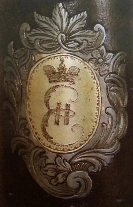 Гербовый щиток с вензелем Екатерины II на охотничьем ружье. Мастер Йохан Греке. 1780-е годы