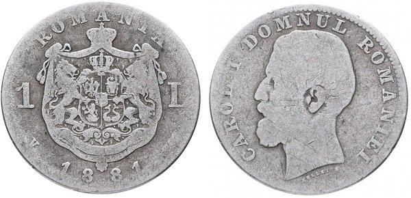 1 лей 1881 года, Королевство Румыния, Кароль I, серебро, 5 г