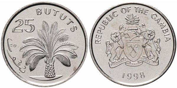 Гамбия. 25 бутутов (bututs) 1998 года