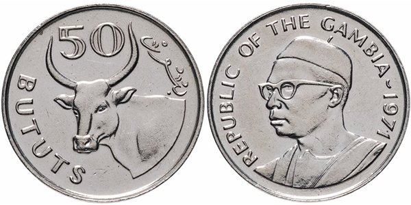 Гамбия. 50 бутутов (bututs) 1971 года