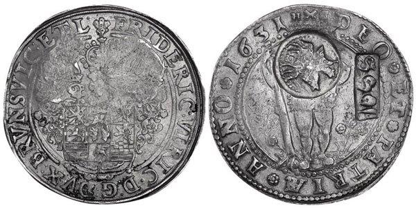 Ефимок с признаком, 1655 год, надчеканка выполнена на талере Брауншвейг-Вольфенбюттель 1631 года