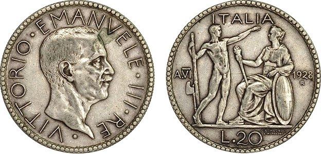 20 лир, серебряные (ликтор)