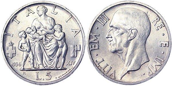 5 лир 1936-1937 гг.
