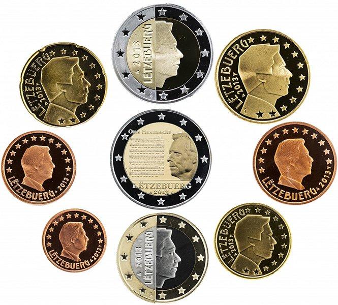 Набор монет евро 2013 года «Государственный гимн Люксембурга» (пруф)