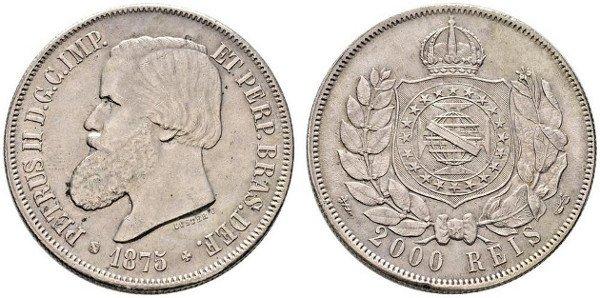 2000 реалов 1875 г. Педру II