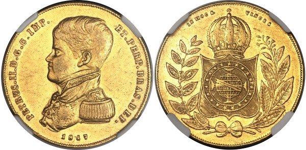 10000 реалов 1847 г. Педру II