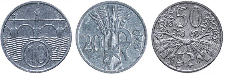 10 геллеров, 20 геллеров, 50 геллеров. 1940-1944 гг. Протекторат Богемии и Моравии. Цинк