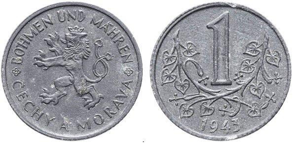 1 крона. Протекторат Богемии и Моравии. 1943 год. Цинк
