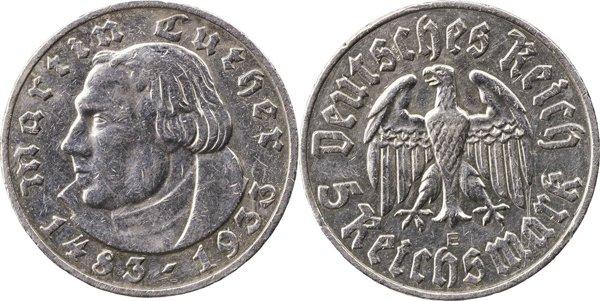 5 марок в честь 450-летия со дня рождения Мартина Лютера