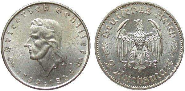 2 марки в честь 175-летия Фридриха Шиллера