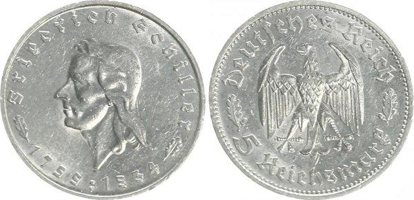 5 марок в честь 175-летия Фридриха Шиллера