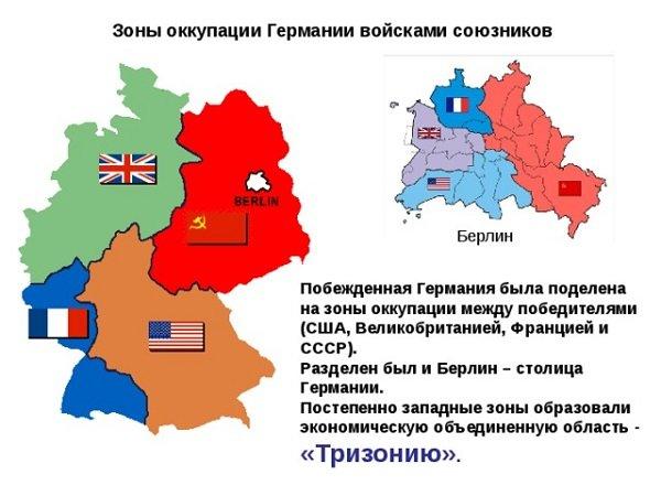 Германия и Берлин, разделенные на оккупационные зоны