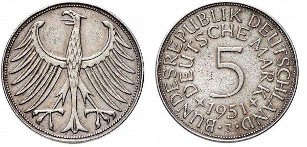5 марок. ФРГ. 1951 год. Серебро 625-й пробы, 11,2 г
