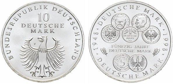 10 марок. ФРГ. 1998 год. 50 лет немецкой марке