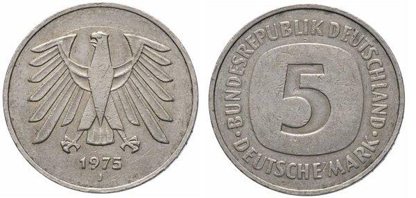 5 марок. ФРГ. 1975 год. Медно-никелевый сплав