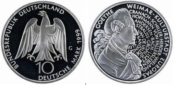 10 марок. ФРГ. 1999 год. 250 лет со дня рождения Иоганна Вольфганга фон Гёте. Серебро