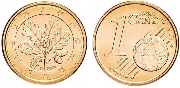 1 евроцент. 2011 год. Плакированная сталь. Мюнхенский монетный двор