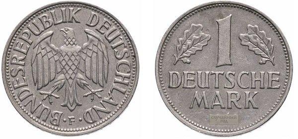 1 марка. ФРГ. 1950-2001 гг. Медно-никелевый сплав