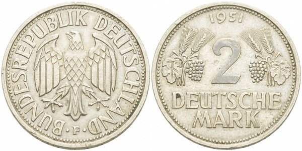 2 марки. ФРГ. 1951 год. Медно-никелевый сплав