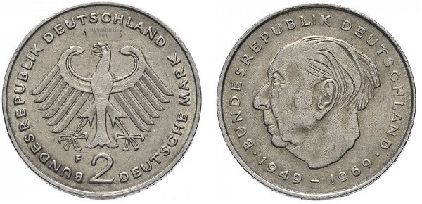2 марки. 1970-1987 гг. ФРГ. Теодор Хойс. Медно-никелевый сплав