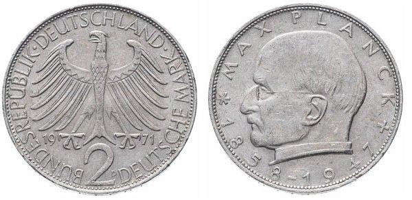 2 марки. 1971 год. ФРГ. Макс Планк. Медно-никелевый сплав