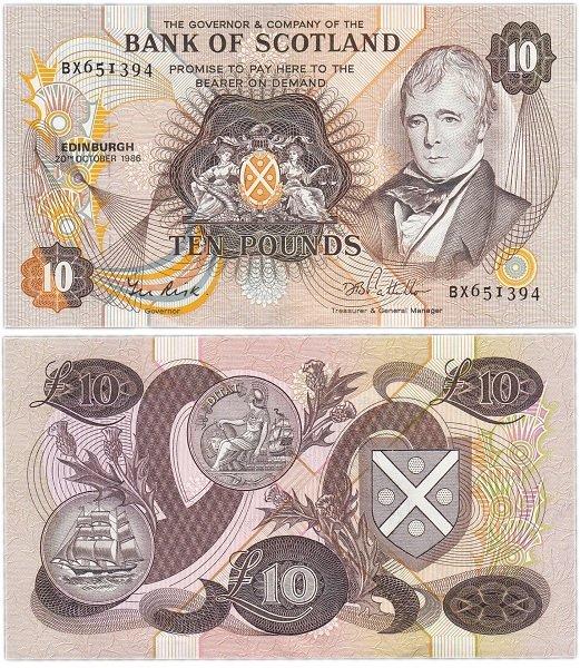 Шотландские 10 фунтов (1986)