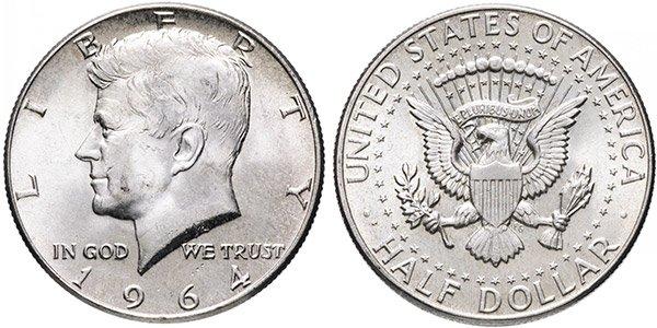 1/2 доллара США (half dollar, 50 центов) «Кеннеди», 1964 год