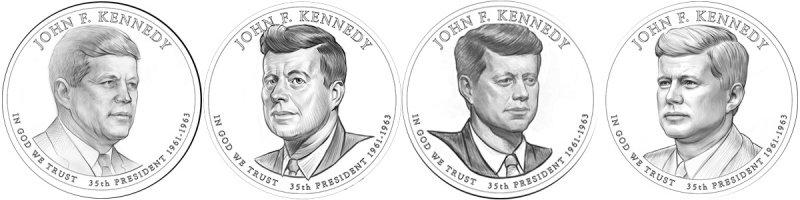 Варианты реверса монеты «35-й президент США Джон Кеннеди», 2014 год