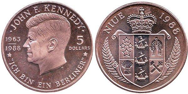 5 долларов «Джон Кеннеди», Ниуэ, 1988 год