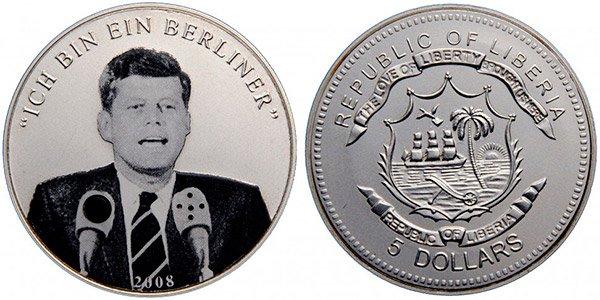 Аудио-монета номиналом 5 либерийских долларов «Джон Ф. Кеннеди», 2008 год