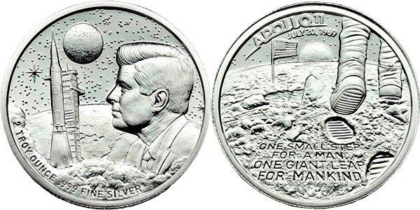 2 тройские унции «Apollo 11 Moon Landing», 2018 год