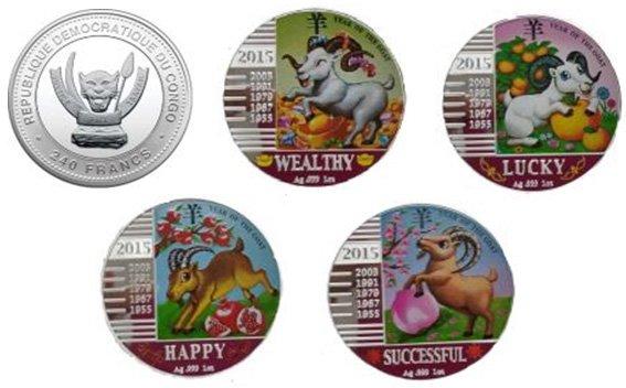 Полный комплект памятных монет Демократической Республики Конго