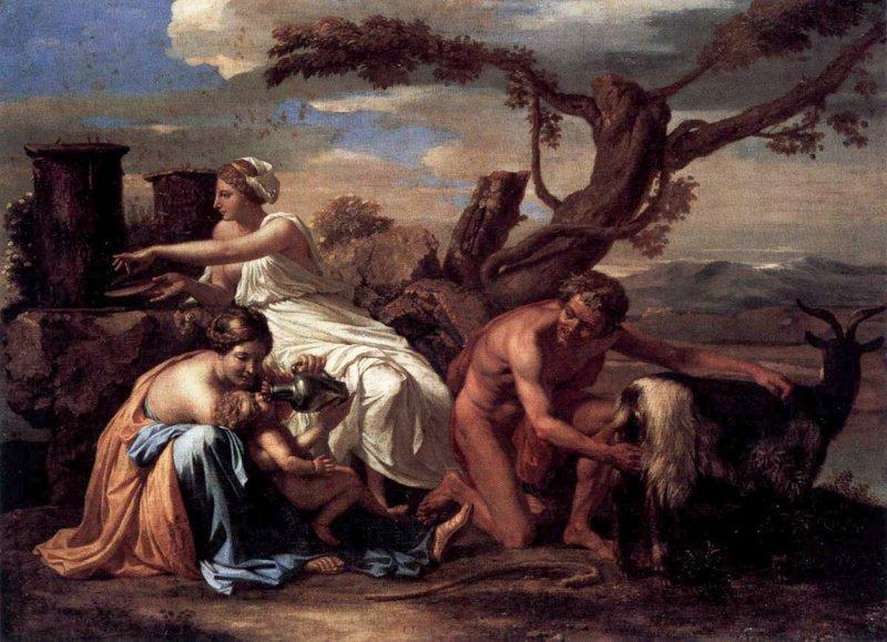 «Зевса вскармливает коза Амалфея» картина работы Никола Пуссена