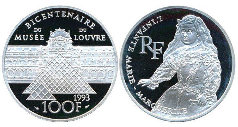 100 франков 1993 года «Инфанта Маргарита», Франция