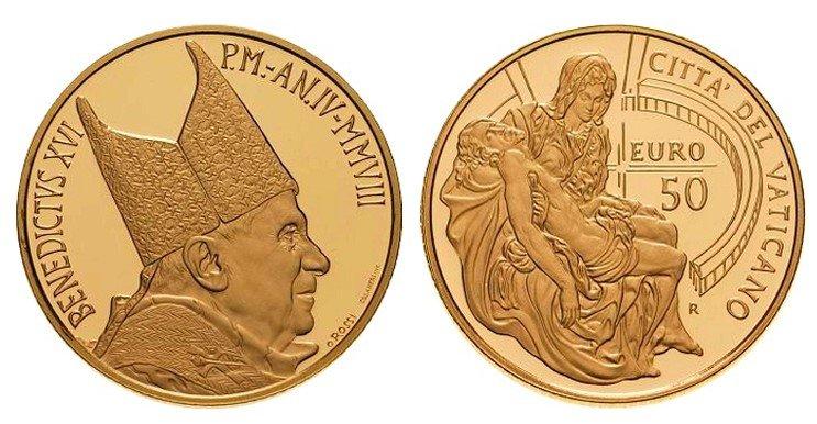 50 евро 2018 года «Шедевры скульптуры Ватикана», «Пьета», Ватикан