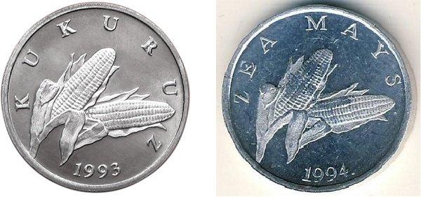 Реверс монет 1 липа 1993 и 1994 годов выпуска