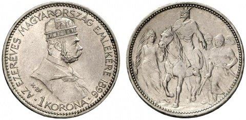 1 корона, 1000 лет Венгрии