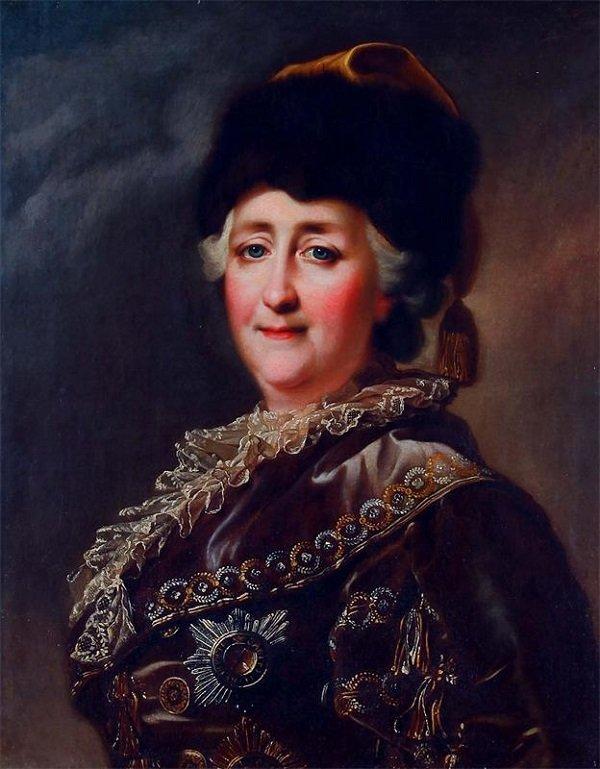 Редкий портрет Екатерины Великой. Императрица в дорожном костюме. Работа неизвестного художника XVIII века